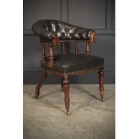 Victorian Brown Buttoned Leather Desk Chair