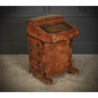 Marquetry Inlaid Walnut Davenport