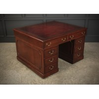 Georgian Mahogany Oxblood Leather Partners Desk