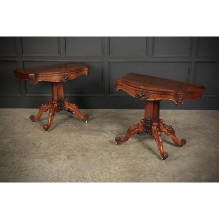 Pair of Rosewood Serpentine Card Tables