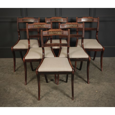 Set of 6 Regency Brass Inlaid Dining Chairs