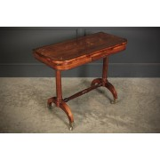 Rare Regency Rosewood Brass Inlaid Card Table