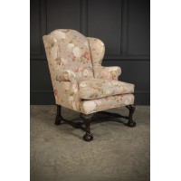 Chippendale Style Floral Upholstered Wing Chair