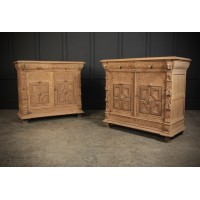 Stunning Pair of Raw Oak Side Cabinets