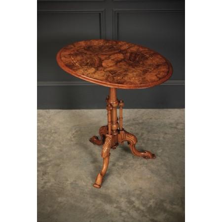 Inlaid Figured Walnut Occasional Wine Table