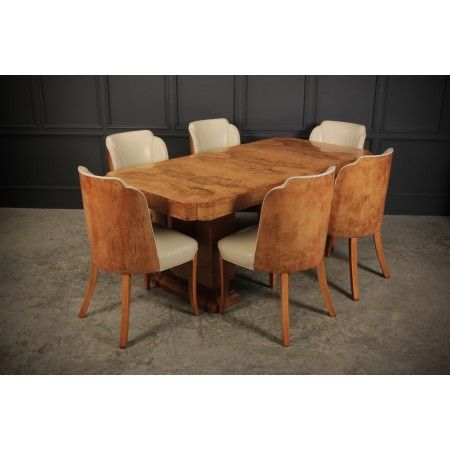 Art Deco Epstein 6 Seat Dining Table & Chairs Suite
