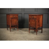 Marquetry Inlaid Rosewood Bedside Cabinets