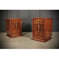 Stunning Pair of Large Figured Walnut Art Deco Bedside Chests