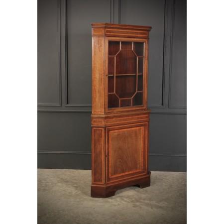 Edwardian Inlaid Mahogany Corner Cabinet