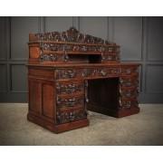 Carved Oak Pedestal Desk