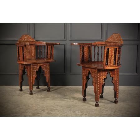 Pair of Damascus Syrian Moorish Inlaid Armchairs
