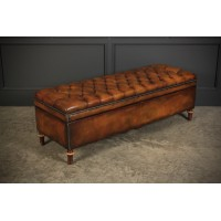 Victorian Buttoned Leather Ottoman