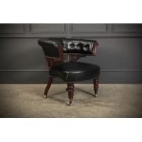 Victorian Mahogany & Black Leather Captains Desk Chair