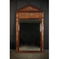 Large French Mahogany Empire Style Mirror
