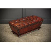 Large Hand Dyed Buttoned Leather Ottoman