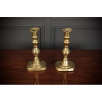 Pair of Victorian Brass Candlestick Holders