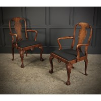 Pair of Queen Anne Style Walnut Carver Chairs