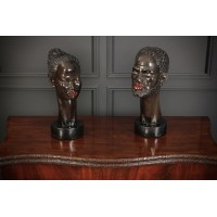 Pair of Ebonised Busts
