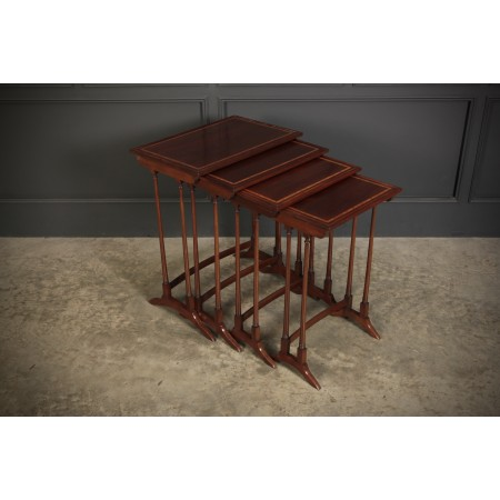 Edwardian Inlaid Mahogany Nest of 4 Tables