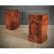 Late Victorian Figured Walnut Bow Front Bedside Cabinets