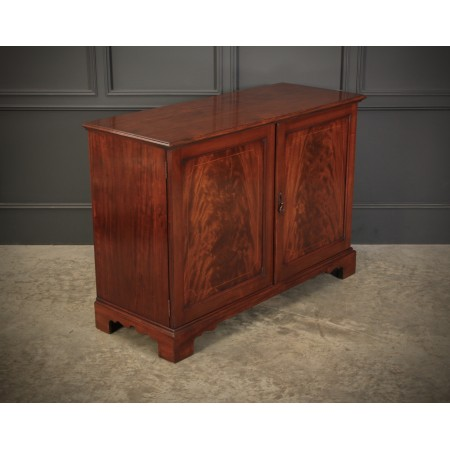 Solid Mahogany Inlaid Low Side Cabinet