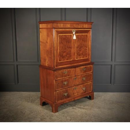 18th Century Walnut Escritoire Cabinet on Chest