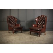 Pair of Queen Anne Style Buttoned Leather Wing Chairs