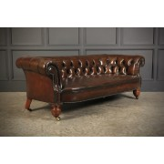 Victorian Hand Dyed Buttoned Leather Chesterfield Sofa