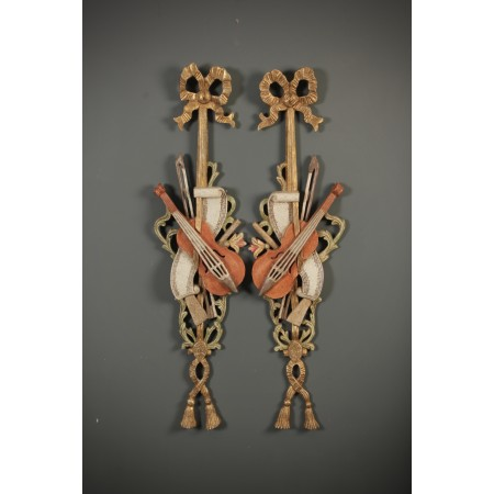 Pair of Decorative Carved Wood Wall Hangings