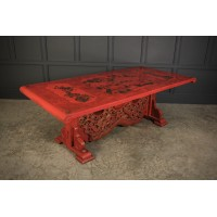 Red Chinoiserie Lacquered Dining Table