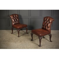 Pair of Buttoned Leather Partners Desk Chairs