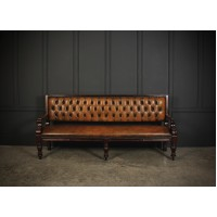 Rare Victorian Buttoned Leather Snooker Bench