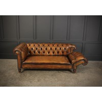 Victorian Hand Dyed Leather Drop end Chesterfield Sofa