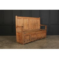 18th Century Rustic Pine Box Settle