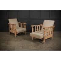 Pair of Small Bleached Oak Reclining Armchairs