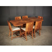 Art Deco Birds Eye Maple Extending Dining Table & 6 Chairs
