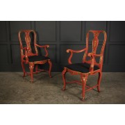 Pair of Red Chinoiserie Armchairs