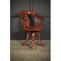 Rare Victorian Elm Swivel Desk Chair