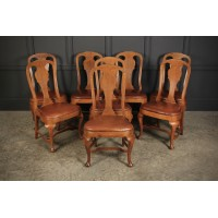 8 Oak & Leather Queen Anne Style Dining Chairs
