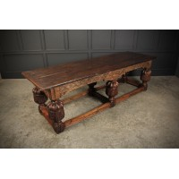 Large 18th Century Carved Oak Dining Table