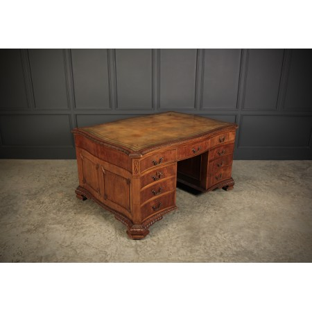 Large Mahogany Serpentine Shaped Partners Desk