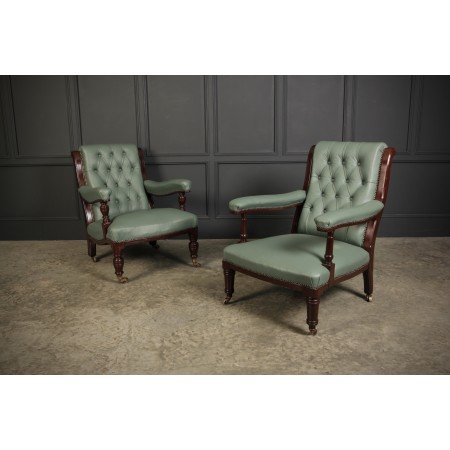 2 Matching Green Leather Armchairs