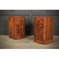 Pair of Art Deco Walnut Bow Front Bedside Cabinets