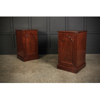 Large Pair of Victorian Fiddleback Mahogany Pedestal Cabinets