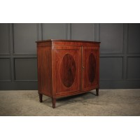 Inlaid Mahogany Bow Front Side Cabinet