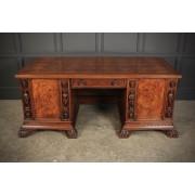 Impressive Large Freestanding Oak & Burr Walnut Desk