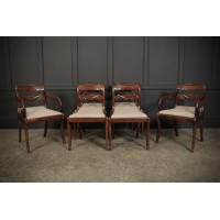 Set of 6 Regency Cuban Mahogany Dining Chairs