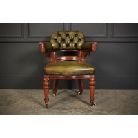 Victorian Mahogany & Hand Dyed Green Leather Desk Chair