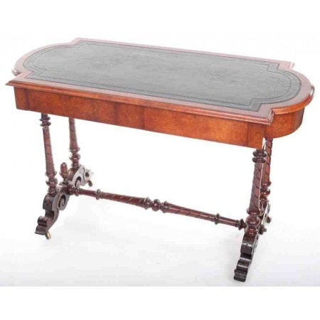 Antique Burr Walnut Victorian Library Writing Table