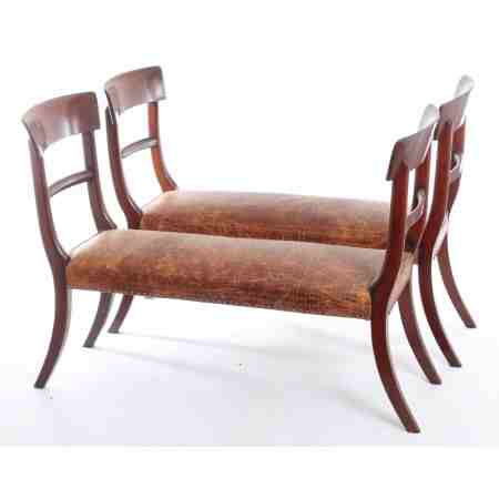 Pair of bar back mahogany window seats (adapted)